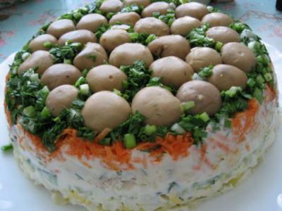 Рецепты салатов с грибами с фото