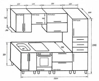 чертёж кухонной мебели