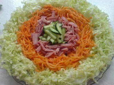 рецепт салата с морковью корейской и колбасой рецепт