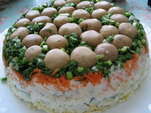 Грибная поляна салат с курицей рецепт с