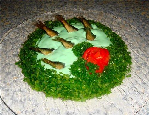 Салаты рыбка в пруду рецепты с
