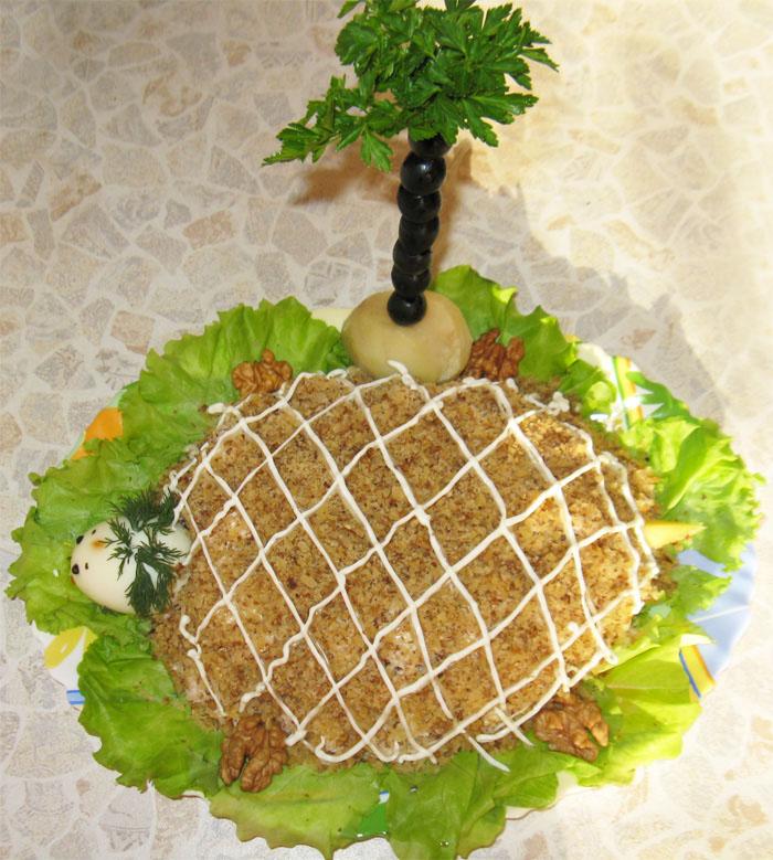 Рецепты салатов с фото черепаха с грибами